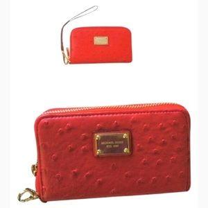Michael Kors Ostrich Red Wristlet/IPhone Case